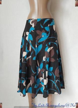 Фирменная moonsoon юбка миди со 100 % льна в красочные крупные цветы, размер м-л