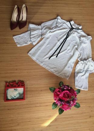 Стильная шифоновая блуза в горошек, размер xxxl