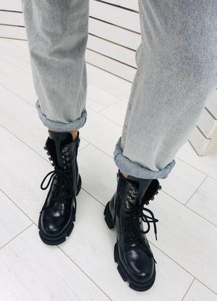 Кожаные ботинки натуральная кожа. лаковые ботинки зима, деми кожа