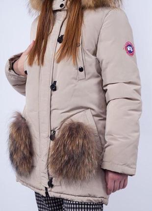 Куртка парка на девочку с натуральным мехом акция