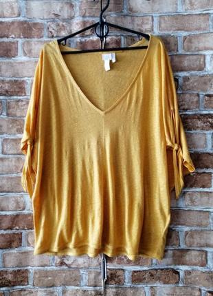Трикотажная льняная блуза футболка оверсайз
