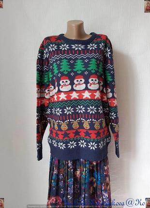 Фирменный avenue свитер в новогоднюю тематику, рисунки снеговиков, елек, размер л-хл