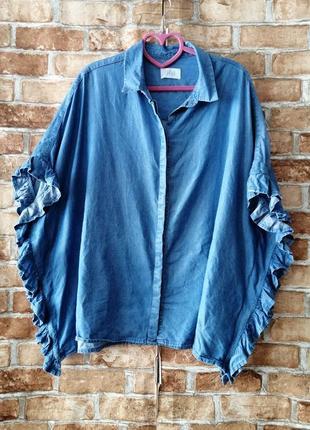 Тонкая джинсовая рубашка блуза оверсайз