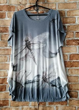 Трикотажная блуза футболка со стрекозами 🦟🦟