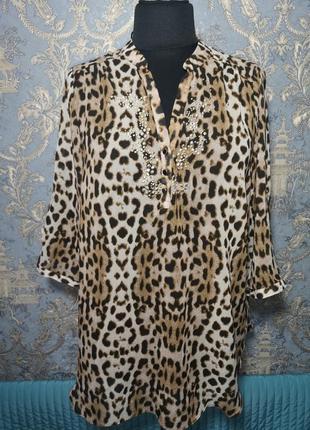 Anya madsen copenhagen шифоновая туника кофточка блуза р. 20 или 50-52 размер