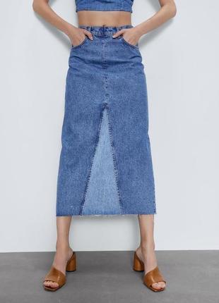 Акция!трендовая джинсовая миди-юбка zara! размер s/m