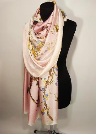 Шелковый тонкий нежный розовый шарф палантин сакура весна лето 2020 натуральный шелк