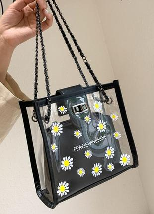 Чёрная прозрачная сумка