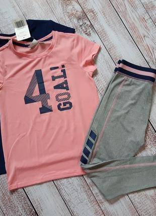 Спортивный костюм, леггинсы, 2 футболки, 134, 8-10 лет, crane, германия