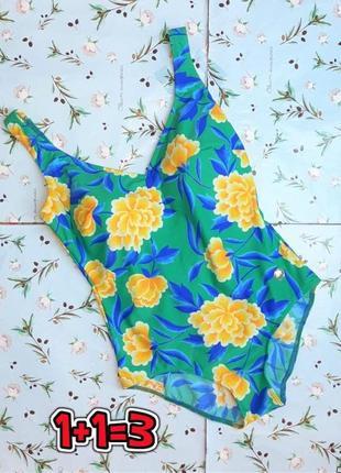 🎁1+1=3 красивый сплошной нежно-зеленый купальник в цветочный принт, размер 46 - 48