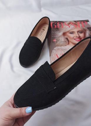 Черные замшевые туфли лоферы балетки