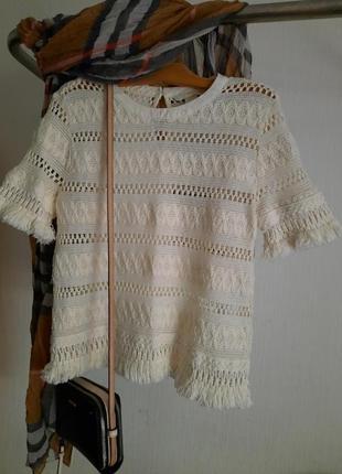 Милая блуза футболка ажур бохрома хлопок h&m