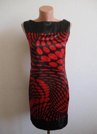 Sale -50%! атласное платье-футляр в крупный горох