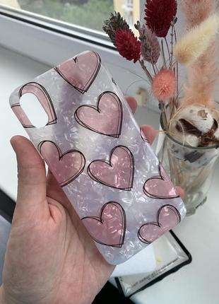 Чехол с сердечками для iphone x/xs