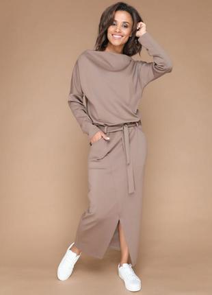 Р. 42-54. платье длинное в пол, с карманами и поясом бежевое  для беременных.10-124