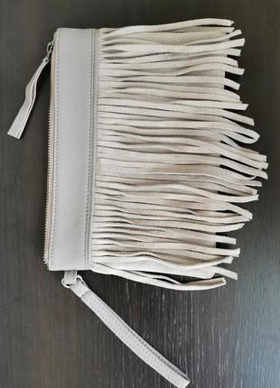 Сумочка клатч сумка кожа бахрома  label lab