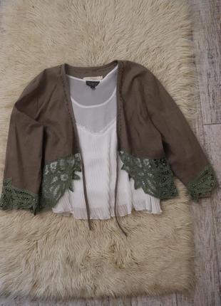 Пиджак лен жакет накидка из льна летний