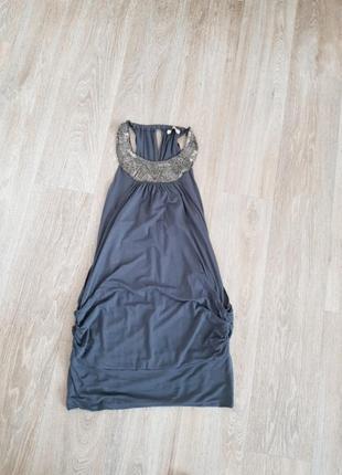 Платье серое oasis трикотажное s