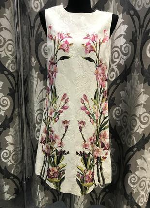 Оригинал платье dolce & gabbana трапеция с принтом тропические цветы