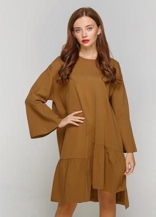 Платье zara оверсайз однотонное оливковое трикотаж xs