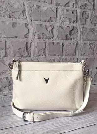 Белая летняя сумка.  сумка натуральная кожа белого цвета