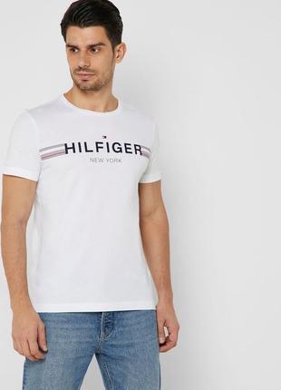 Шикарная хлопковая футболка tommy hilfiger big logo с логотипом бренда