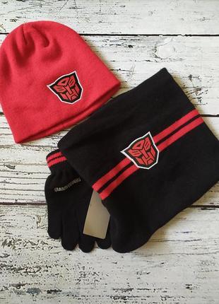 Набор шапка шарф перчатки трансформеры