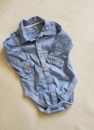 Боди рубашка джинсовый с рукавом 3-6 мес.
