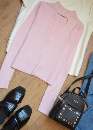 Нежно розовая кофтас чокером хс водолазка нежная рубчик лапша лонгслив нежная мягкая