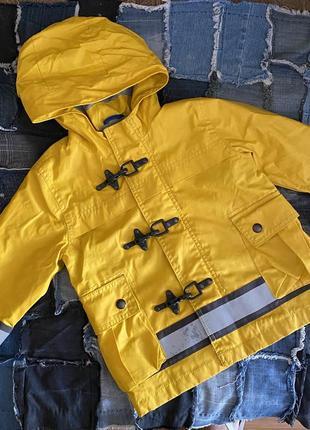 Классный яркий желтый дождевик ветровка со светоотражающими полосками  gap на 2 года