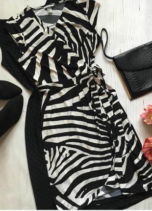 Модное платье принт зебра на запах h&m
