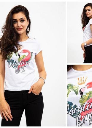 Футболка женская спущенный рукав принт фламинго 7 цветов
