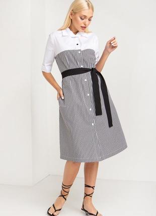 Деловое платье-рубашка чёрный зигзаг