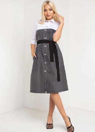 Деловое платье-рубашка чёрная полоска
