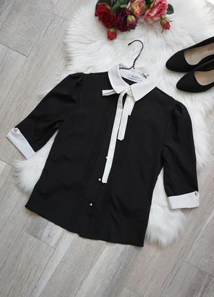 🔥🔥🔥блузка черная нарядная с белым воротником, meng xin duo, m