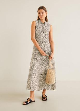Платье миди изо льна mango, лён, льняное платье, сукня з льону, льон