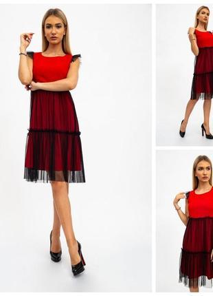 Платье женское 119r287 цвет красно-черный