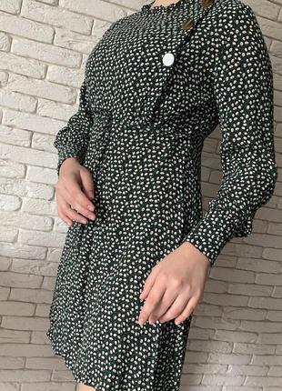 Платье в стиле zara в мелкий цветок с пуговицами1 фото