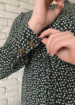 Платье в стиле zara в мелкий цветок с пуговицами5 фото