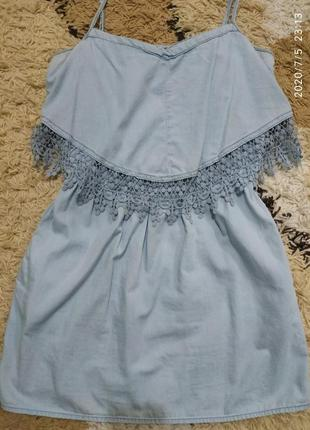 Cарафан с карманами и красивым кружевом, можно для беременных george 44-46-48