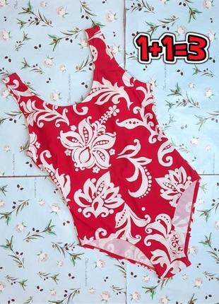 🌿1+1=3 красивый красный сплошной сдельный купальник в цветочный принт, размер 46 - 48