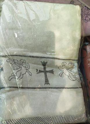 Полотенце крыжма на крестины махра хлопок 70 х 140 см