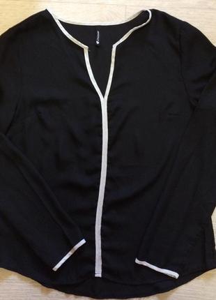Классическая лёгкая блуза с длинным рукавом для офиса и школы с белыми вставками