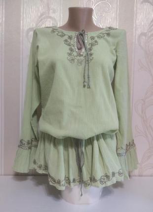 Блуза жатка с вышивкой, ткань натуральная, индия