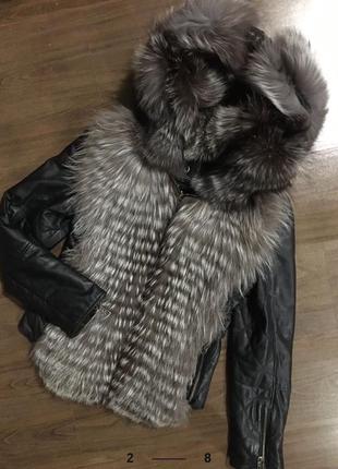 Sale! куртка кожаная с мехом чернобурки.курточка весенняя.косуха.кожанка мех