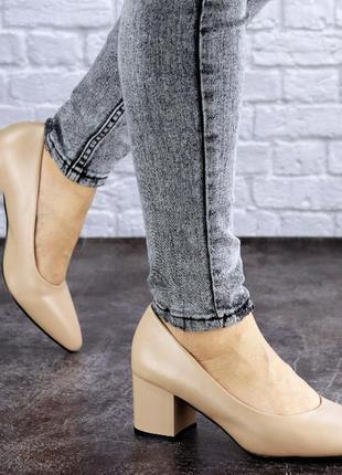 Женские туфли на каблуке бежевые pebbles 2012