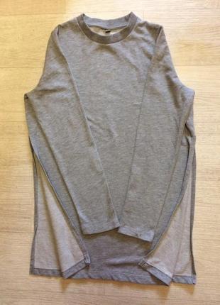 Длинные серый базовый свитшот с разрезами по бокам