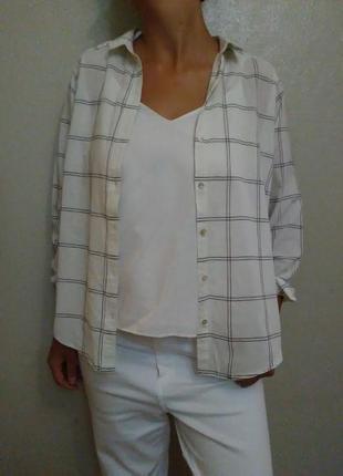 Рубашка, блуза, блузка,белая,хлопок,клетка,оверсайз