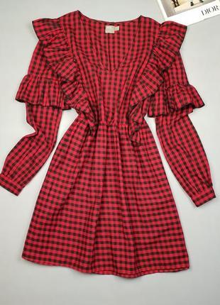Хлопковое мини платье в клетку asos p.10/38