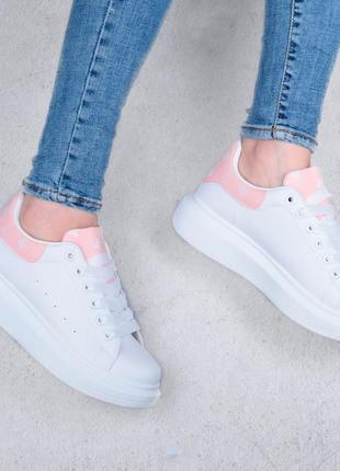 Стильные белые кроссовки кеды криперы на платформе толстой подошве кроссы
